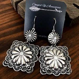 Jewelry - Silver Embossed Concho Earrings